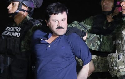 epaselect epa05093490 Alleged fugitive Mexican drug lord Joaquin 'El Chapo' Guzman is escorted by the authorities to a Mexican Army helicopter in Los Mochis, Sinaloa, Mexico, 08 January 2016, to be transferred to the prison from which he escaped on 11 July 2015. Guzman, allegedly one of the world's most powerful drug lords, made his second escape from a high-security prison in July 2015 using a series of sophisticated tunnels. The suspected head of the Sinaloa cartel was recaptured on 08 January in the town of Los Mochis near the Pacific Coast in his home state of Sinaloa, the Milenio newspaper reported citing Mexican security authorities.  EPA/JOSE MENDEZ