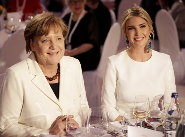 Ivanka Trump, daughter and advisor of the US President, and German Chancellor Angela Merkel sitting next to each other at a dinner in the Deutsche Bank after taking part in the international W20 summit on women's empowerment  in Berlin, Germany, 25 April 2017. Photo: Michael Sohn/AP-POOL/dpa