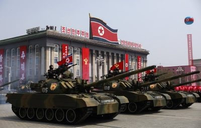 epa05908614 North Korean military tanks drive past during a parade for the 'Day of the Sun' festival on Kim Il Sung Square in Pyongyang, North Korea, 15 April 2017. North Koreans celebrate the 'Day of the Sun' festival commemorating the 105th birthday anniversary of former supreme leader Kim Il-sung on 15 April as tension over nuclear issues rise in the region.  EPA/HOW HWEE YOUNG