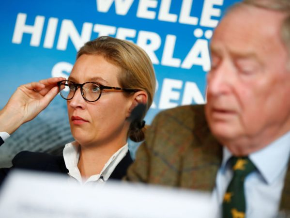 Co-lead AFD candidates Alexander Gauland and Alice Weidel attend a news conference in Berlin, Germany September 18, 2017. REUTERS/Axel Schmidt - RC11F0098F50