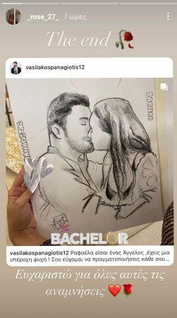 insta story της Ραφαέλας από το the bachelor