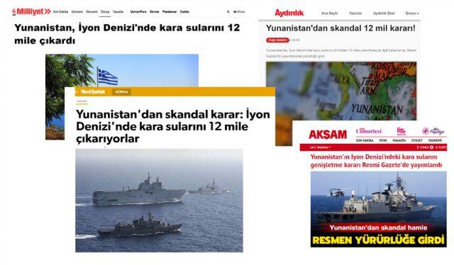 Τουρκικός τύπος για την επέκταση των ναυτικών μίλιων στο Ιόνιο