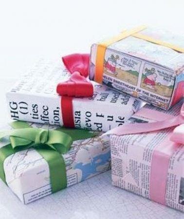 Περιτύλιγμα δώρων από εφημερίδα